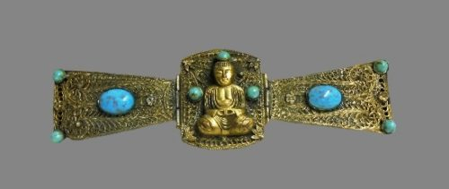 Detail. Buddha buckle. Brass, turquoise, gold plated. 17.5 cm. Before 1920s