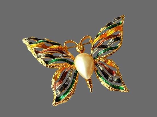 Butterfly striped brooch. Multicolor enamel, gold tone, pearl cabochon. 5.4 cm