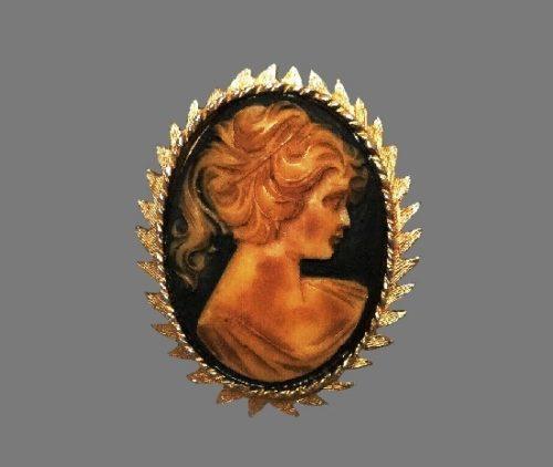 Cameo vintage brooch. Gold tone frame