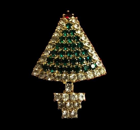 Christmas tree rhinestone brooch
