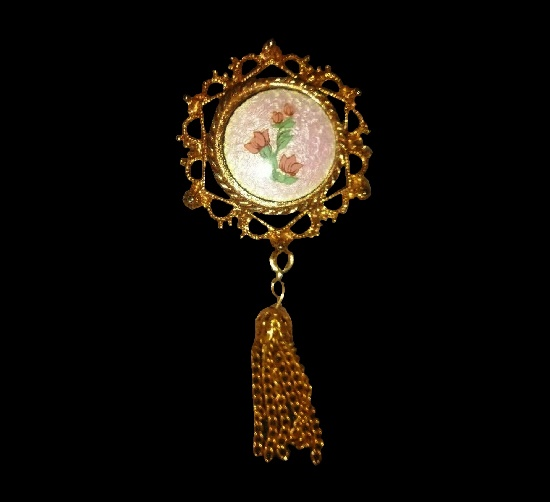 Dangling brooch pendant. Gold tone, handpainted