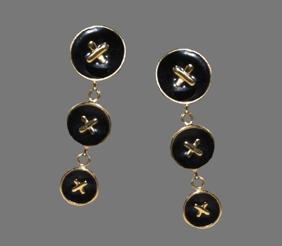 Black enamel gold tone dangle earrings. 1970s