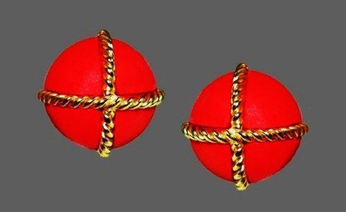 Red gold doorknocker clip earrings. 1980s