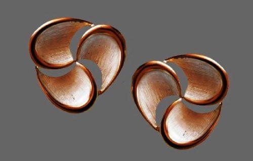 White enamel gold tone earrings. 1980s