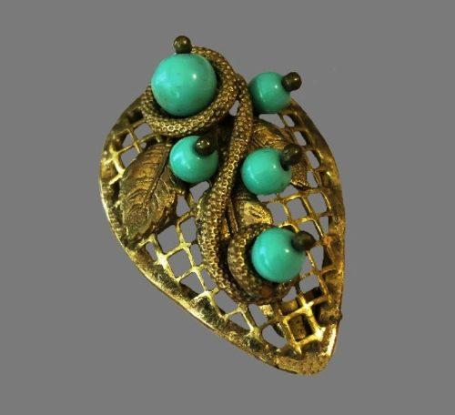 Filigree leaf design dress clip. Gilded brass, turquoise glass beads. 1930s