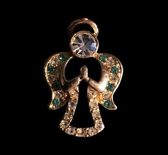 Gold tone rhinestone Angel pendant. 1990s