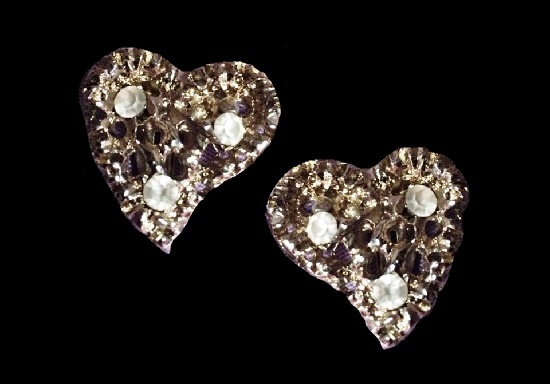 Heart shaped metal alloy glass inserts earrings