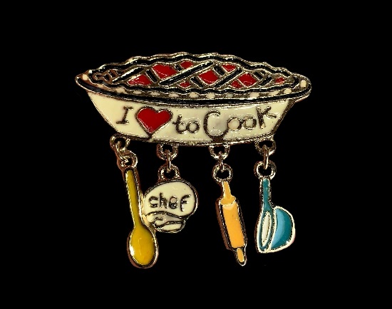 I love to cook pin with charms. Gold tone metal, enamel