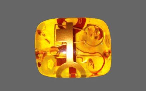 Key and key holes theme brooch by Masaaki Sakaguchi. Amber, 18 K gold
