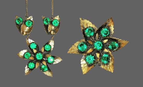 Leaf flower design brooch and pendant necklace. Brass, green rhinestones. 1930s