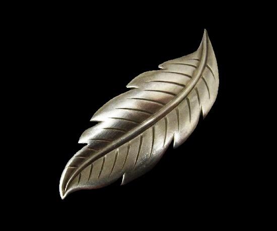 Leaf sterling silver brooch. 1954