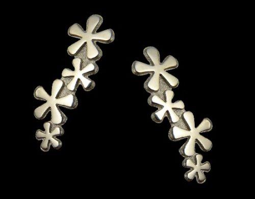 Long flower design sterling silver stud earrings