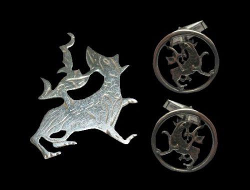 Maeshowe Dragon sterling silver cufflinks and brooch (4 cm). 1968