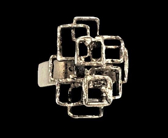 Modernist design sterling silver ring