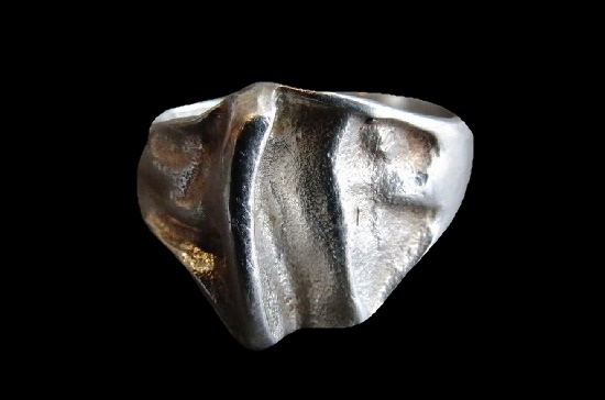 Moon landscape 925 silver ring. 1970s