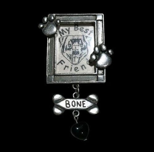 My best friend dog frame pewter pin brooch