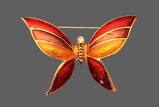 Orange red and yellow enamel gold tone butterfly brooch