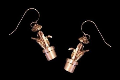 Pot flower pewter dangle earrings