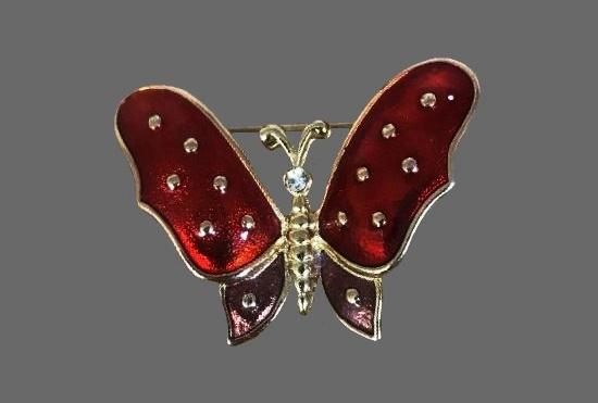 Red butterfly brooch. Gold tone, enamel