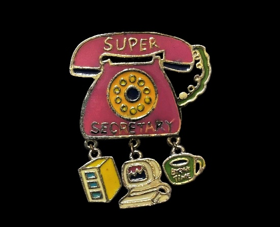 Super secretary brooch with charms. Pink, green and yellow enamel pin
