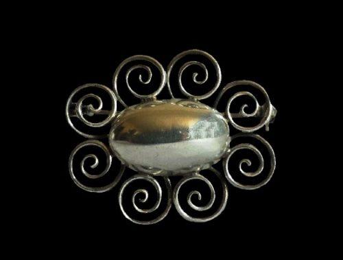 Swirl design sterling silver brooch