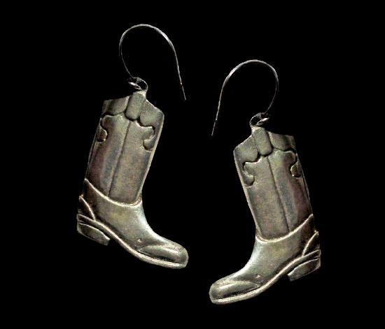 Vintage Cowboy boots pewter earrings