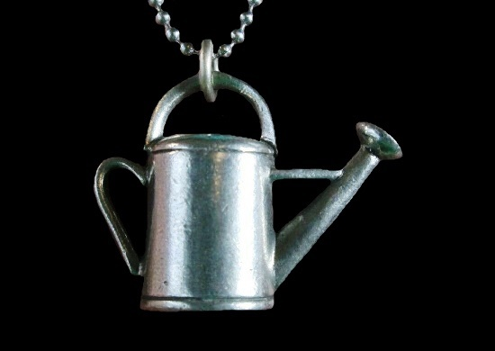 Watering can pewter pendant