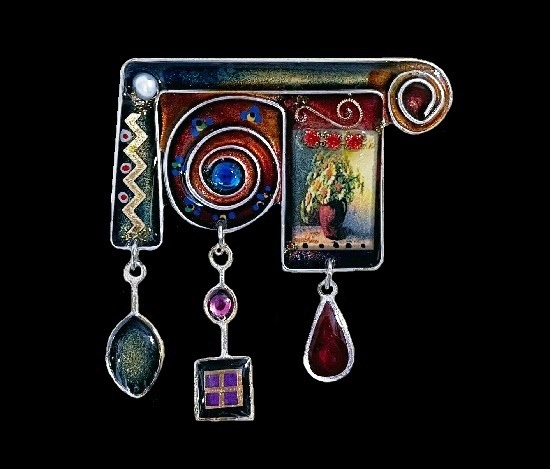 Abstract design brooch with handpainted tiny pot flower and charms. Acrylic resin, art glass, rhinestones, silver tone