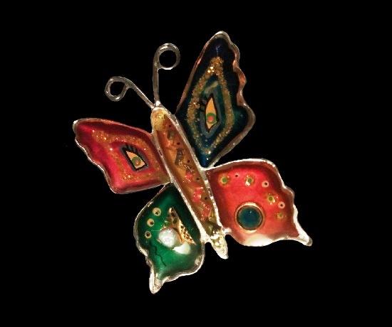 Butterfly brooch. Silver tone, acrylic, resin, art glass, pearl