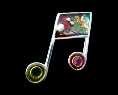 Music notes silver tone pin. Handpainted acrylic, pearl cabochon, aurora borealis stones and copper
