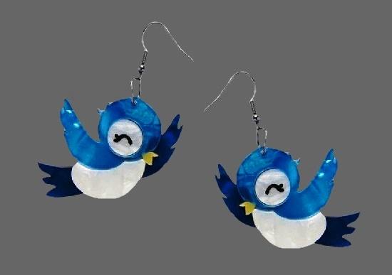 Blue bird vintage earrings. Bakelite