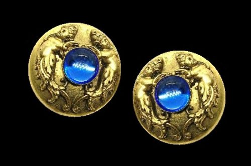 Blue glass Cupid clip on earrings of gold tone