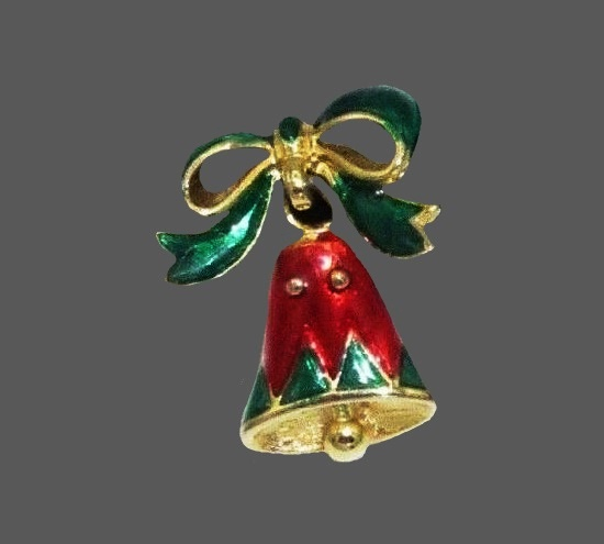 Bow Christmas bell dangle earrings. Gold tone alloy, enamel