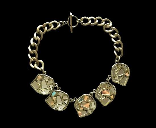 Broken mirror silver tone necklace