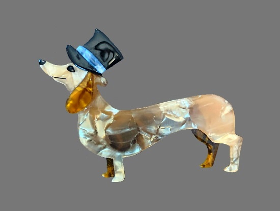 Dachshund in top hat vintage brooch. Mother-in-pearl plastic. 1990s