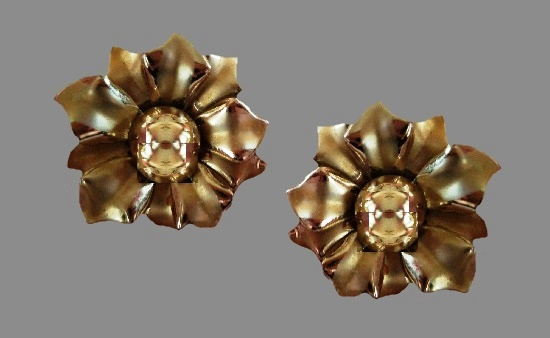 Dogwood flower clip on earrings of gold tone