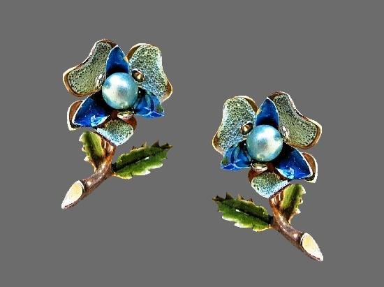 Viola Flower clip on earrings. Blue and green enamel, gold tone metal, faux pearls