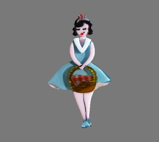 Girl with a picnic basket resin brooch