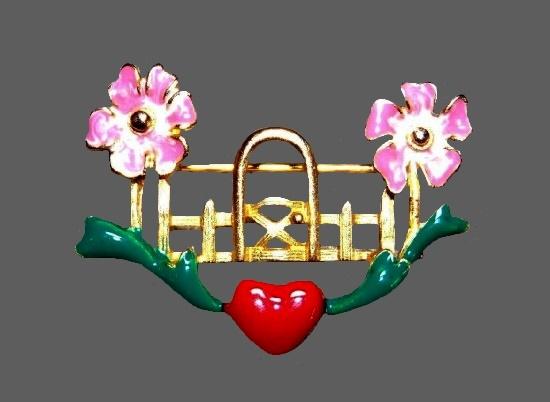 Love gardening vintage brooch. Gold tone metal, enamel