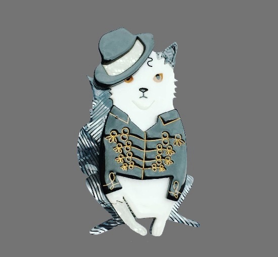 Michael Jackson Cat brooch. Musical cats collection. Plastic, lucite. 6.4 cm. 1990s