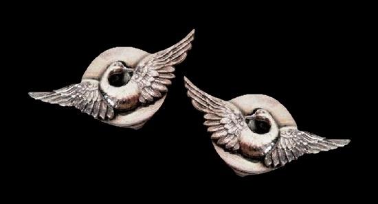 Swan silver tone clip on earrings