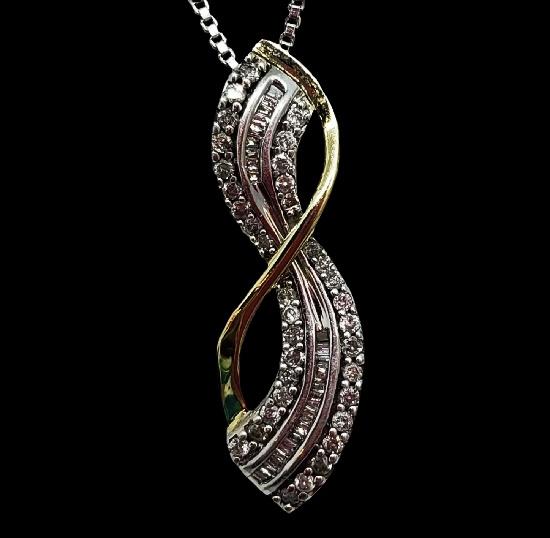 10K yellow gold sterling silver diamond infinity pendant