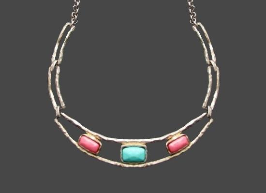 1980 gold tone art glass choker necklace