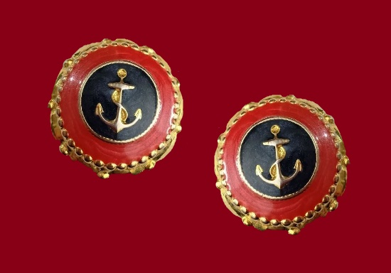 Anchor design round shaped clip on earrings. Gold tone, red and black enamel. 1980s