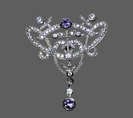 Art Deco sterling silver pin brooch. Pave cubic zirconia, amethysts