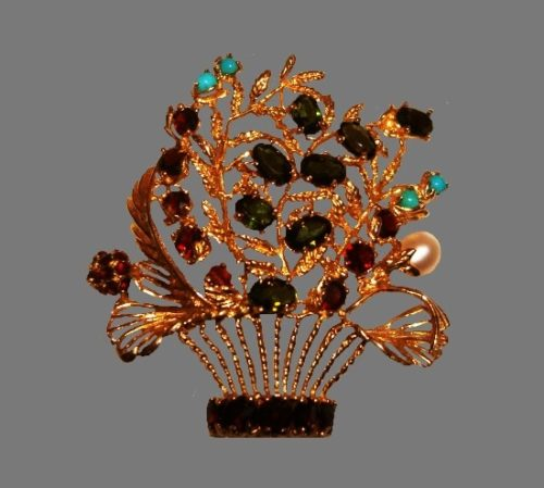 Basket of flowers brooch pendant. 14 K gold, faux pearls, glass cabochons