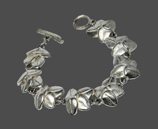 Bean leaf design silver plated bracelet