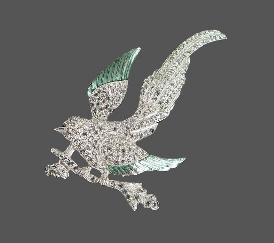 Bird brooch pin. Sterling silver, rhinestones