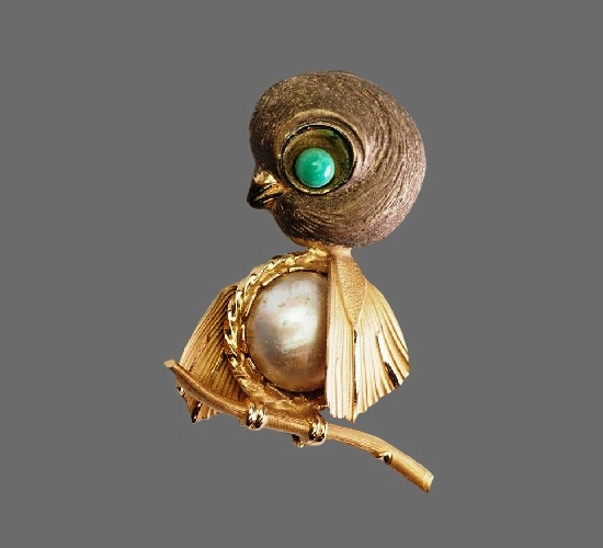 Bird chick sterling silver pearl brooch pin