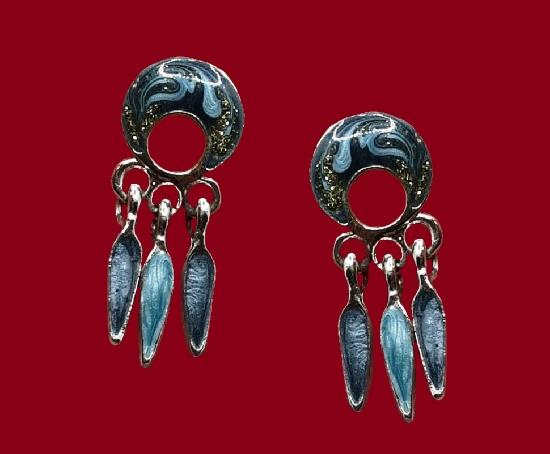 Black enamel gold tone pierced earrings. 1980s